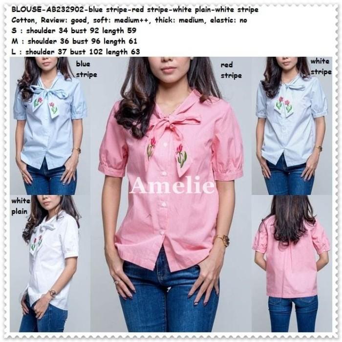 harga Baju atasan kemeja wanita putih white pink blue blouse korea import Tokopedia.com
