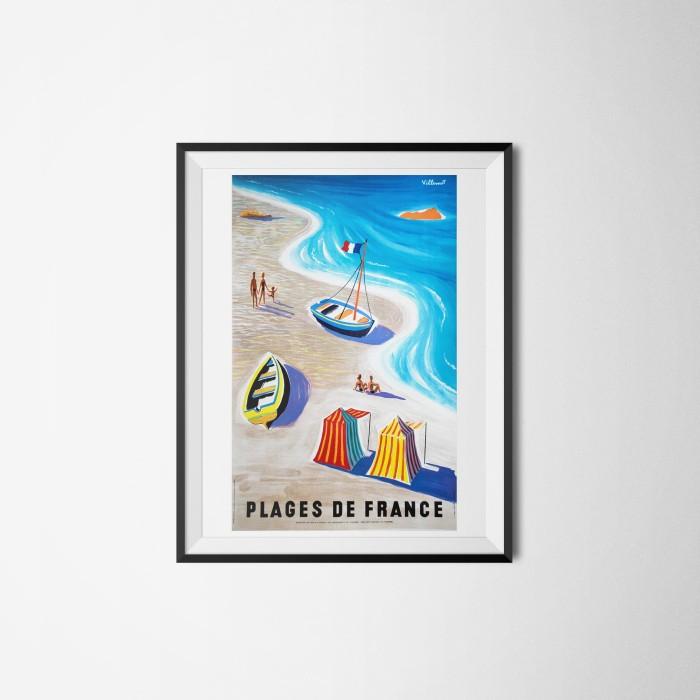 Foto Produk Plages de France beaches of France Bernard villemot - Vintage Poster - Ukuran A3 dari Rembo Indonesia
