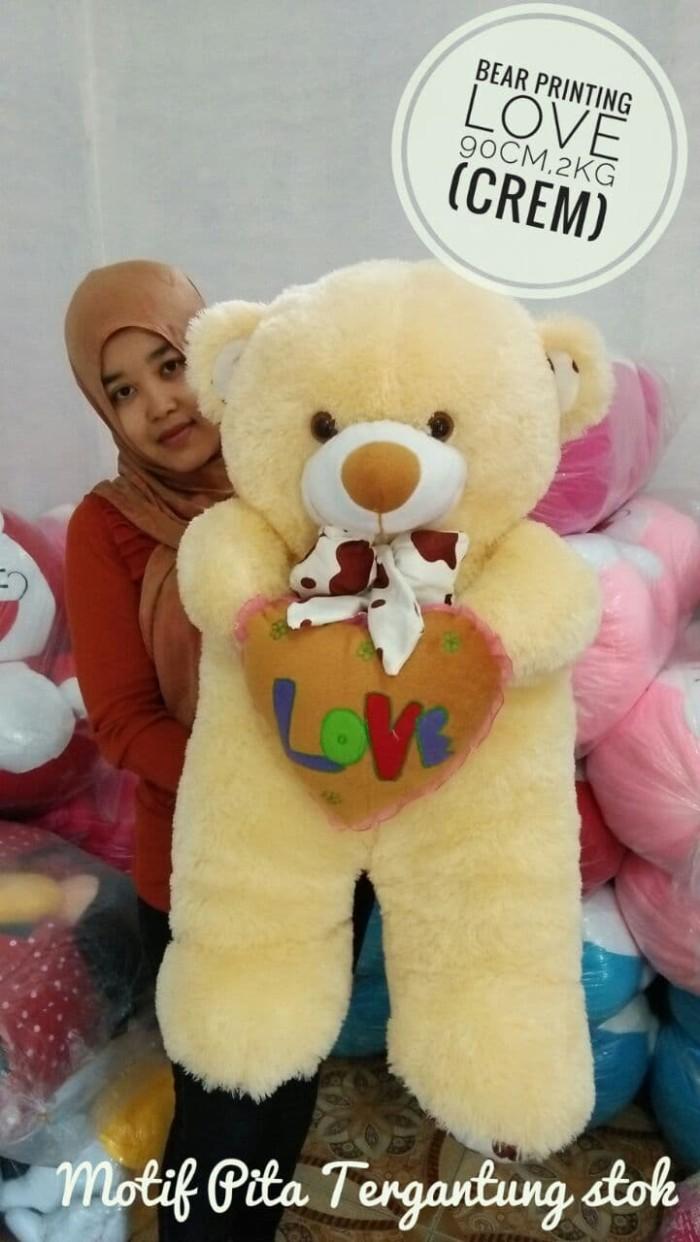harga Boneka teddy bear printing cream  coklat  orange ukuran 90cm berat 2kg Tokopedia.com