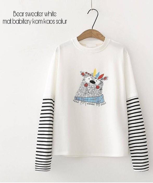 harga Sweater kuning putih garis garis baju outer wanita anak remaja blouse Tokopedia.com