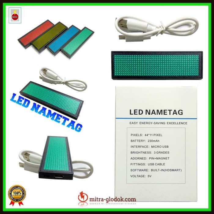 harga Led nametag / mini running text name tag - hijau biru kuning - l02 Tokopedia.com