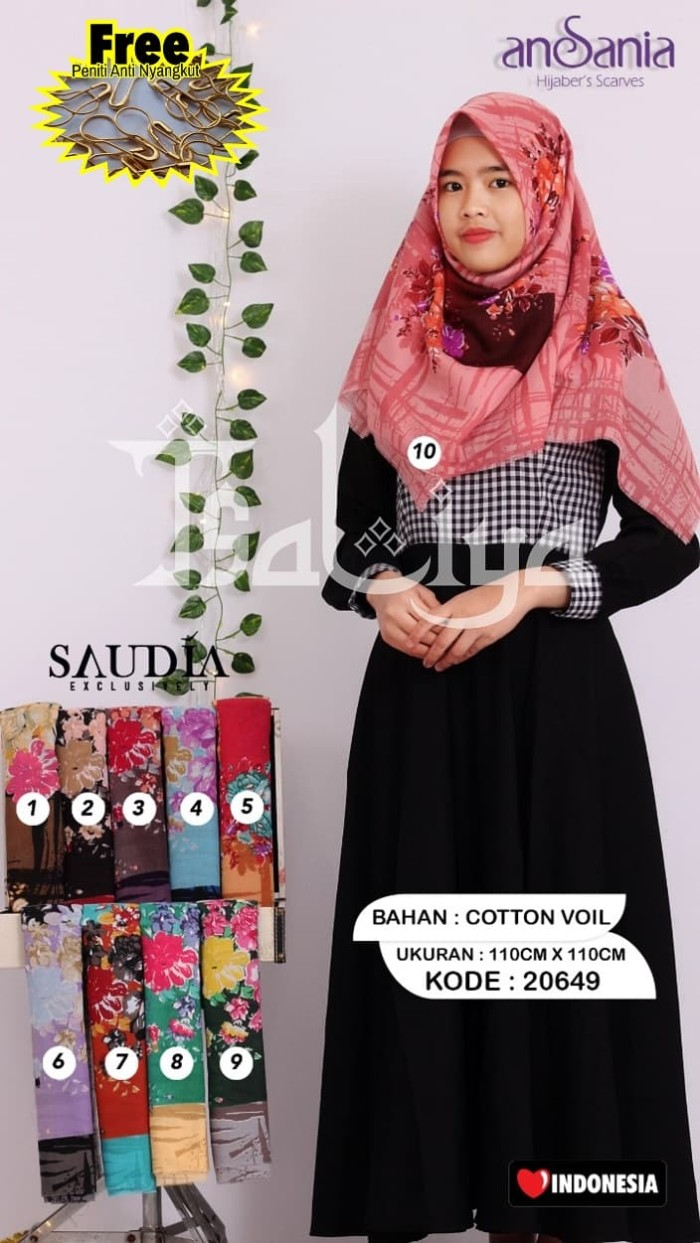 Jual Jilbab Rawis Ansania Saudia Print Motif 20649 Hijab Kerudung