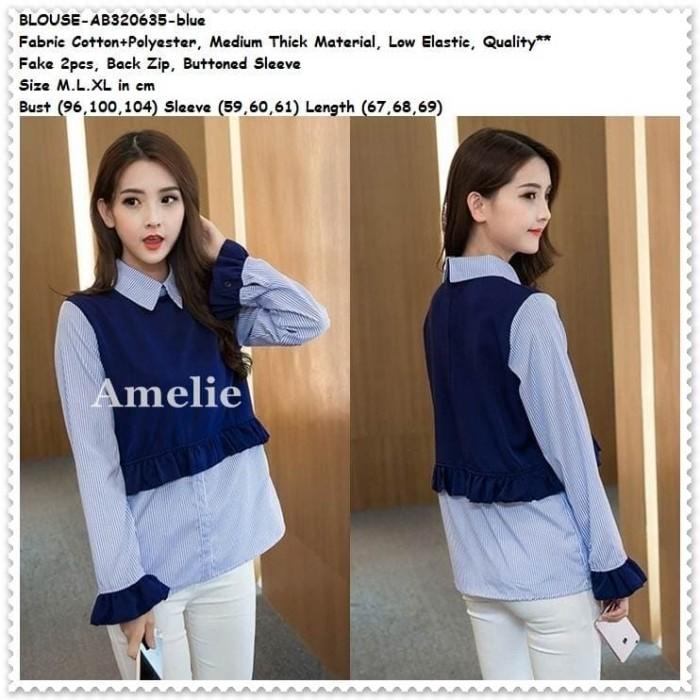 harga Baju atasan kerja kemeja wanita blouse wanita korea import tunik blue Tokopedia .