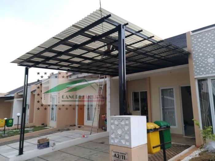 Jual Canopy Baja Ringan Atap Solartuff Tiang Double Cat