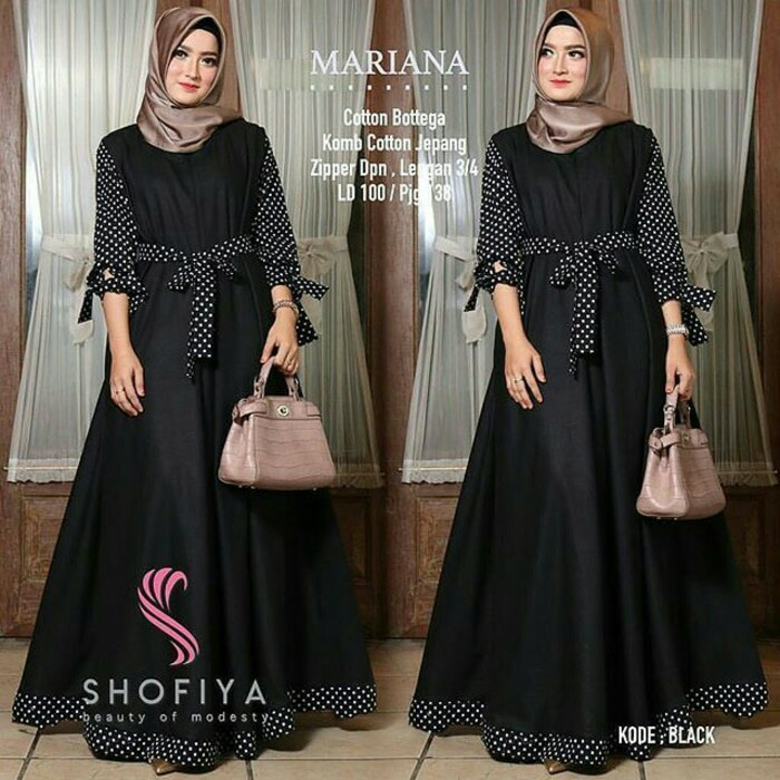 Jual Mariana Polka Hitam   Dress Maxy Wanita   Baju Gamis Muslim ... 81c5ae7145