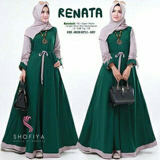 Baju Gamis Renata   Dress Maxy Wanita   Busana Muslim Wanita Modern - Hijau  Tua f5db045303