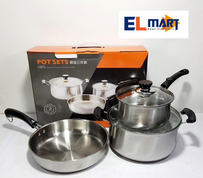 harga Pot sets panci stainless stell set 5pc/wajan frypan stainless/gorengan Tokopedia.com