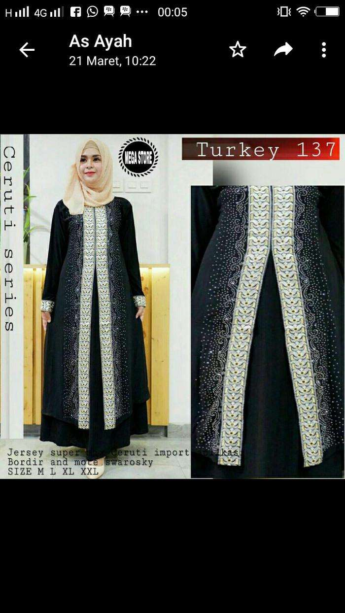 Jual Gamis Abaya Arab Hitam Mewah Elegant Muslim Turki Size M L Xl Gold Xxl