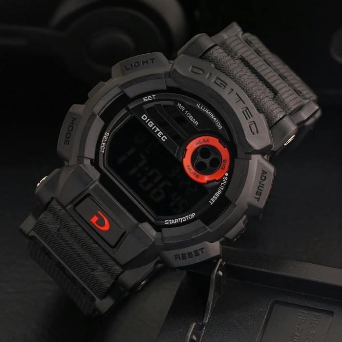 Jam Tangan Pria Sport Original Digitec Dg-2079 Black List Red