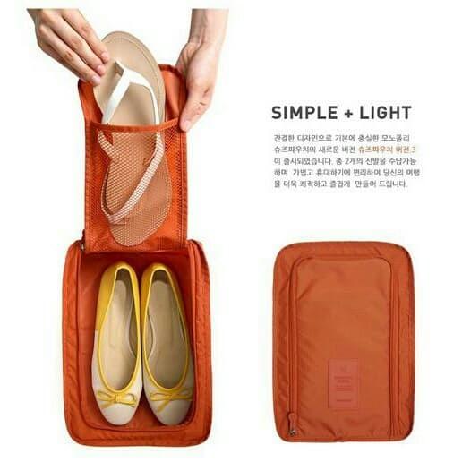 Tas Sepatu Sandal Organiser (Korean Shoes & Pouch Travelling organizer - Abu -abu Muda