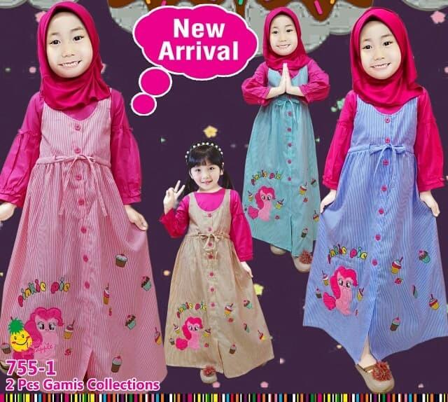 Jual 755 1 Baju Muslim Anak Gamis Overall Katun Garis Little