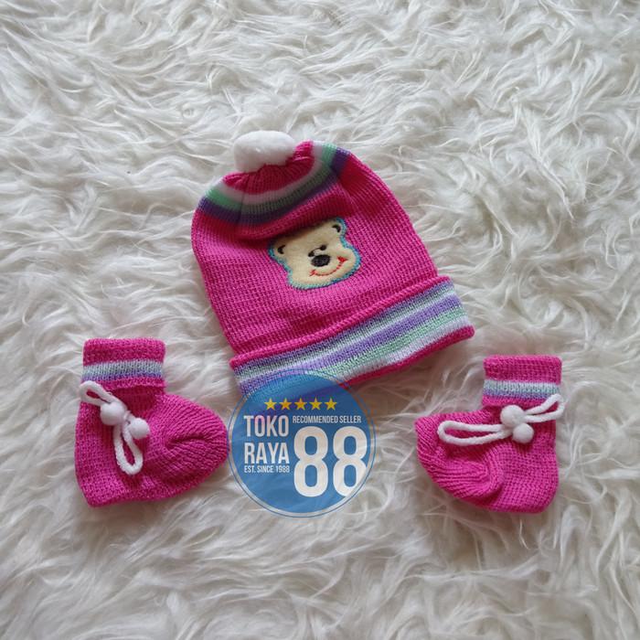 Set Topi Kupluk Rajut + Sepatu Rajut Bayi Newborn 0 - 3 Bulan