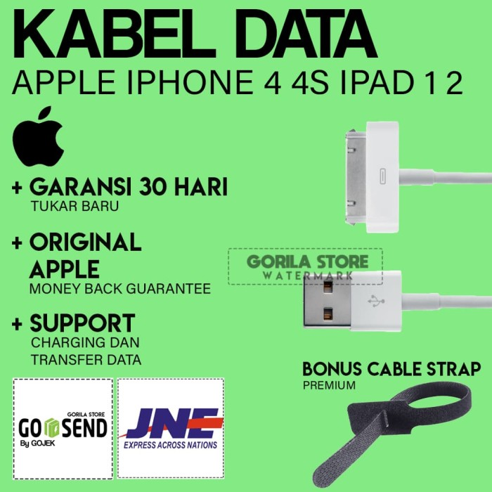 [HOT] Kabel Data Iphone 4 / 4S / ipod / ipad 1 / ipad 2 / ipad 3 ORI ! - Putih