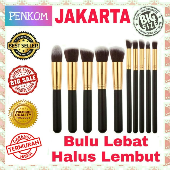 harga Set kuas make up kosmetik wajah 10 pcs 10pcs cosmetic makeup brushes Tokopedia.com