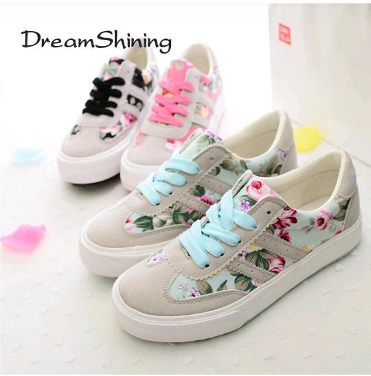 Sepatu Kets wanita motif bunga - Hitam, 36