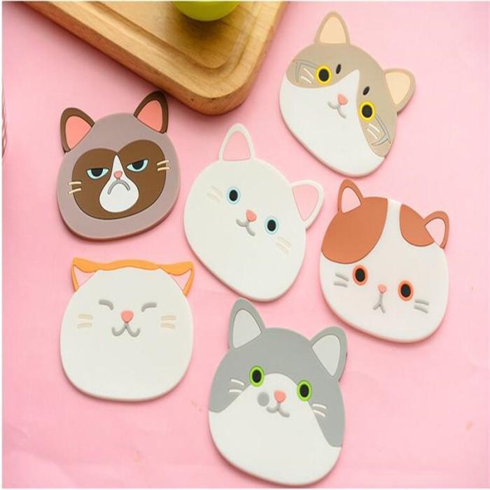 Jual Jual 1 Piece Silikon Meja Makan Tatakan Coaster Kartun Kucing