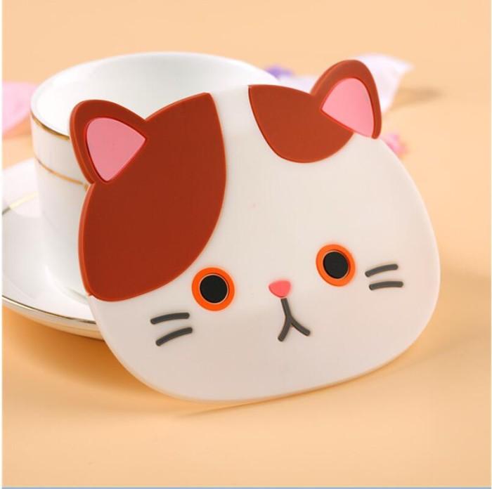 Jual Jual 100 Piece Silikon Meja Makan Tatakan Coaster Kartun Kucing