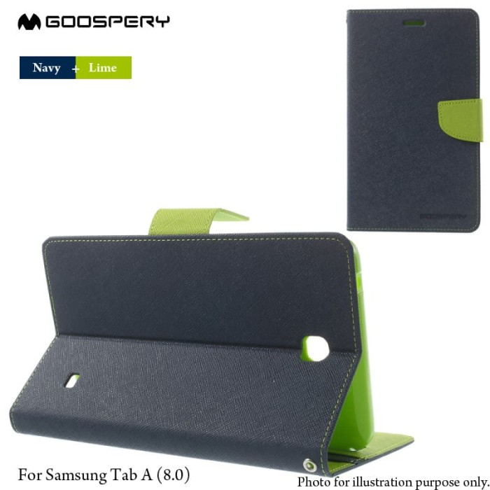 goospery samsung tab a 8.0 t350 fancy diary case - navy-lime