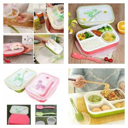 Yooyee sekat 4 sup bento lunch box bekal makan biru / pink