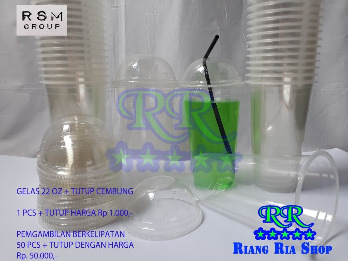 harga 50 pcs gelas 22 oz + tutup cembung - cup plastik large thaitea chatime Tokopedia.com
