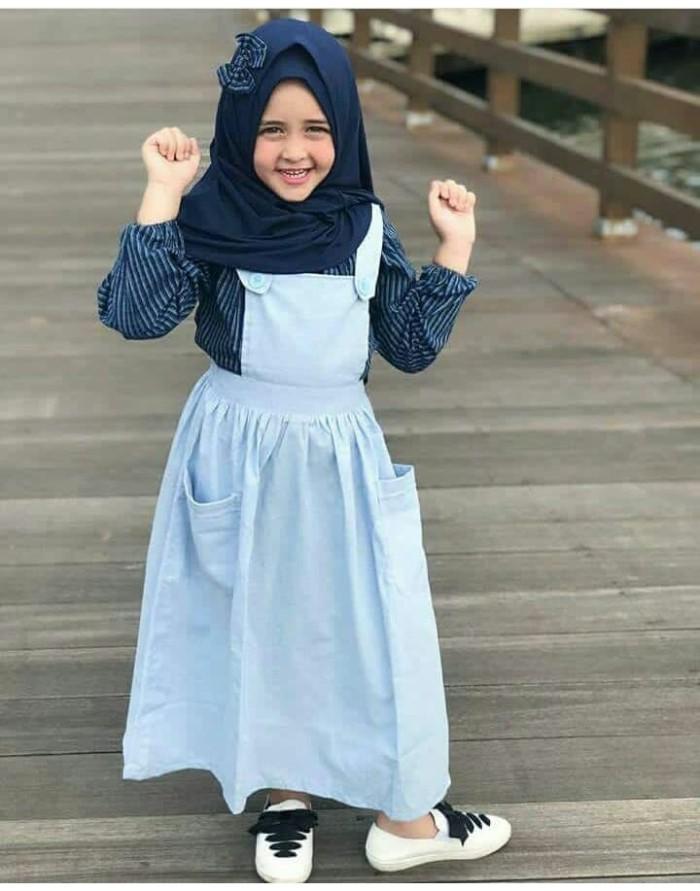 Jual Set Fashion Baju Muslim Anak Perempuan Overall Cutetrik Terbaru