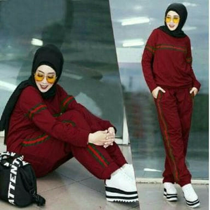 harga Baju setelan wanita fashion maroon ribbon/baju senam muslim modern Tokopedia.com
