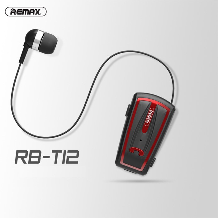 Earphone remax bluetooth clip on rb-t12