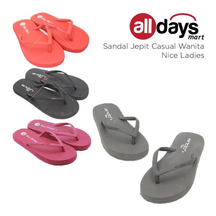 Ando Sandal Jepit Wanita /Flip Flop Nice Ladies Size 36-40 - Hitam, 36