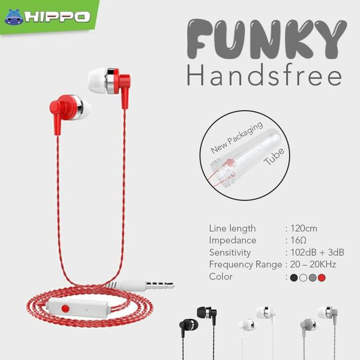 harga Hippo funky handsfree headset earphone - hitam Tokopedia.com