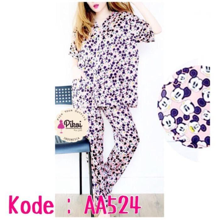 Best 524 Baju Tidur Mickey Mouse / Sleepwear Satin / Piyama Wanita