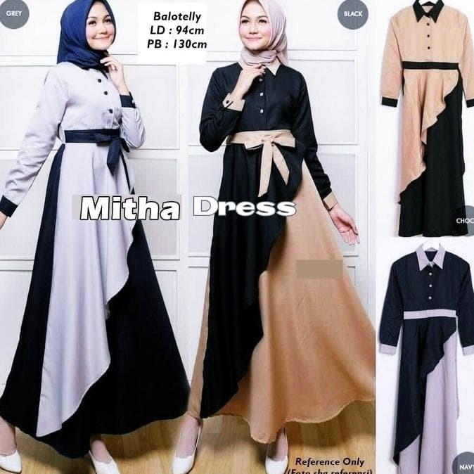 Jual Termurah Baju Muslim Wanita Gamis Maxi Maxy Lengan Panjang Mitha Jakarta Barat Cancanshope Tokopedia
