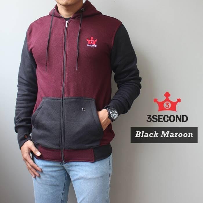 harga Jaket fleece hoodie premium cotton 3second black maroon Tokopedia.com