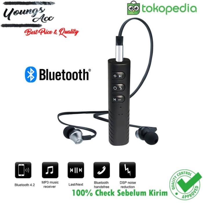 Universal Car Kit Audio Music Player Bluetooth Receiver Jack 3.5mm - Hitam