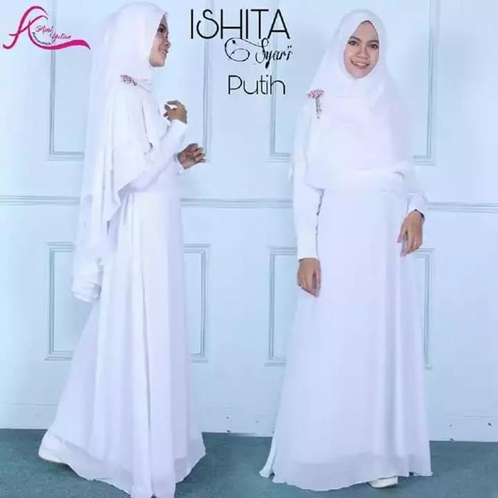 Jual Ishita Syari Setelan Gamis Ceruty Polos Umbrella Simple Elegan