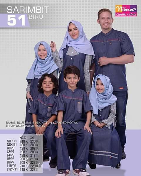 harga Baju muslim sarimbit keluarga nibras family 51 setelan couple biru Tokopedia.com