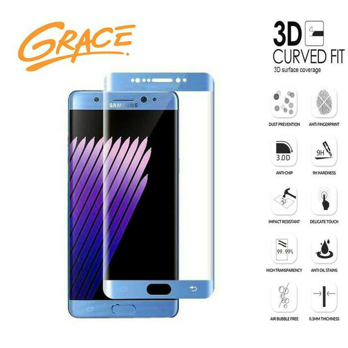 harga Grace tempered glass samsung galaxy note fe/fan edition-3d curved-biru Tokopedia.com