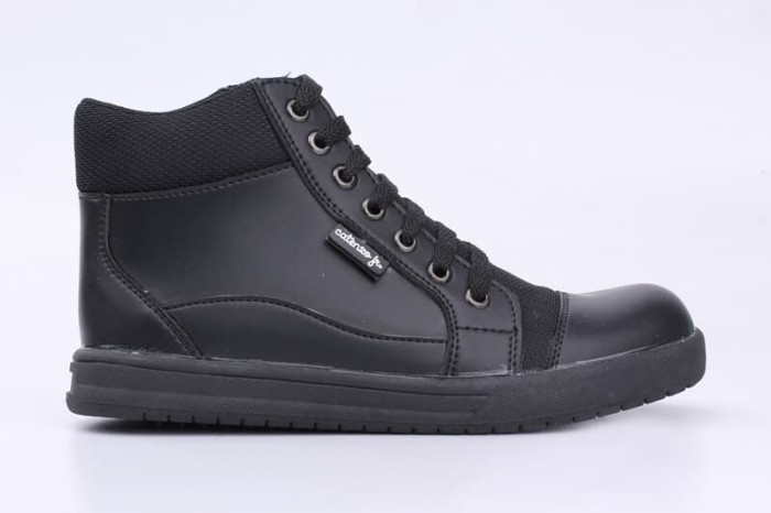 Sepatu Sekolah Anak SD Laki Perempuan Semi Boots Hitam Polos Tali
