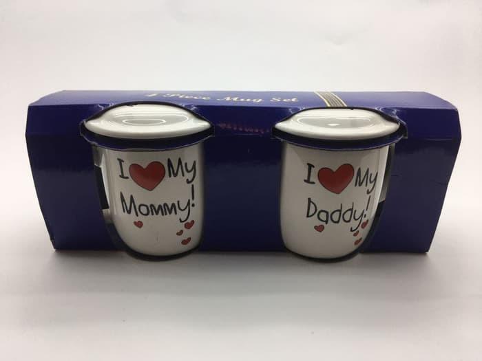 MUG COUPLE MOM & DAD / MUG KERAMIK / MUG SET / MUG BERTUTUP - BEST