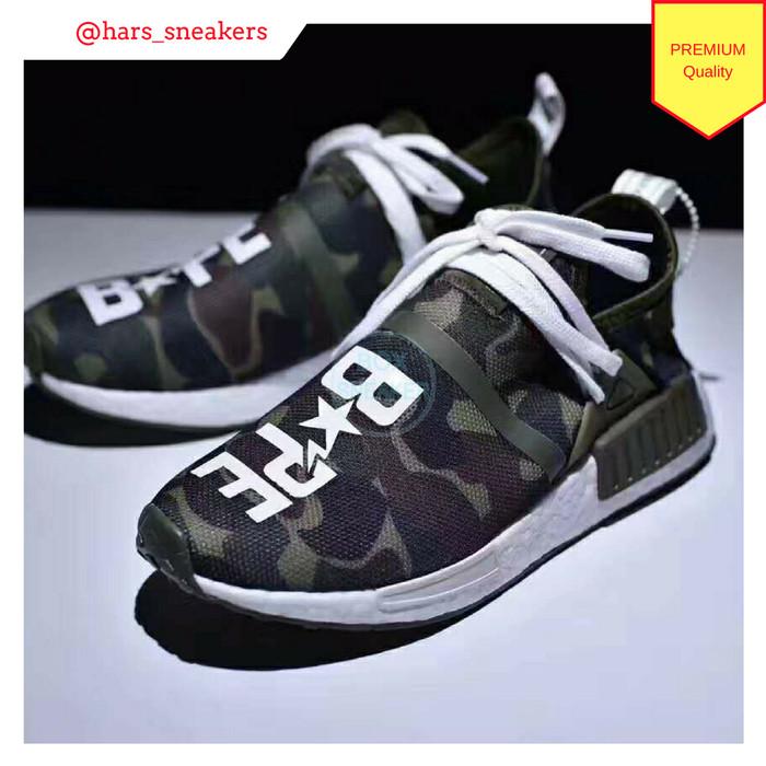 6badcf3c5dffa Jual Sepatu Pharrell x Adidas Human Race X Bape Green Camo Premium ...