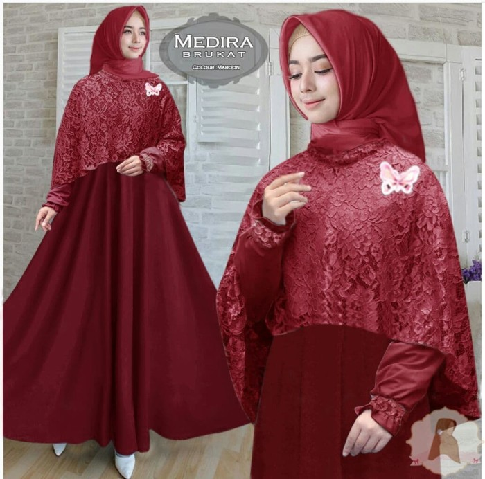 Jual Baju Gamis Pesta Modern Wisuda Remaja Busui Medina Warna Merah