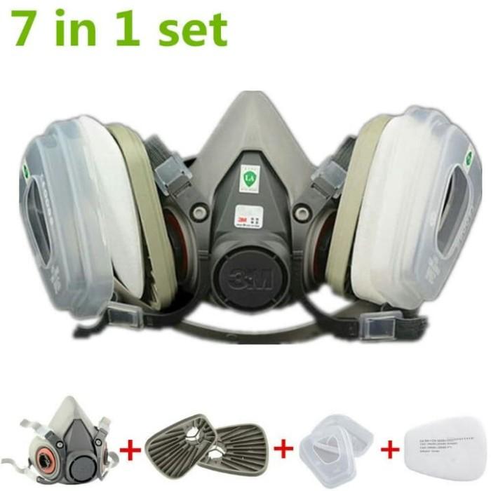 harga 3m masker 7in1 pelindung pernapasan gas/cat/asap/debu respirator 6200 Tokopedia.com