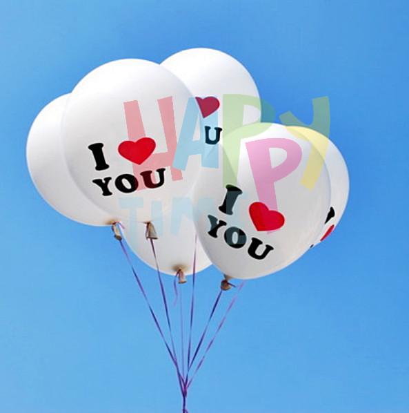 BALON LATEX I LOVE YOU (MIN 10) BALON ULANGTAHUN BALON MURAH - Putih