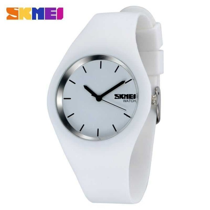 Jam Tangan Wanita Putih Original Skmei Analog Casio Tipis Cantik Unik -  Putih 7b89254013