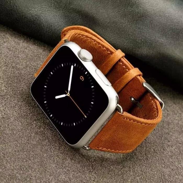 Foto Produk Handmade Genuine Horse Leather Strap For Apple Watch 42mm Series 1-2-3 - Cokelat dari Toko Aisyah24