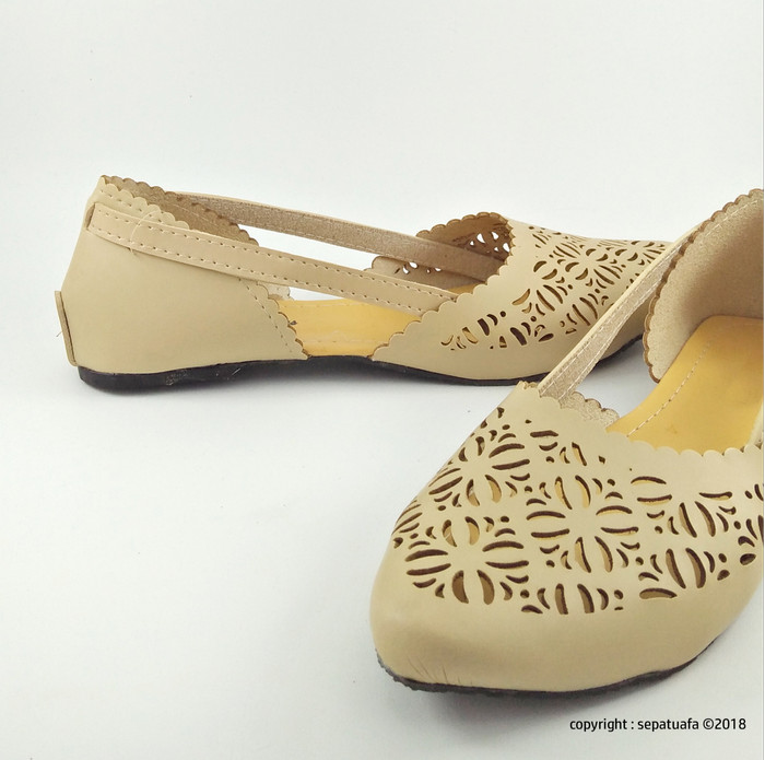 Sepatuafa - Flat Shoes Sepatu Teplek Kirana AS28 - Cream - Cokelat a64bb968c9