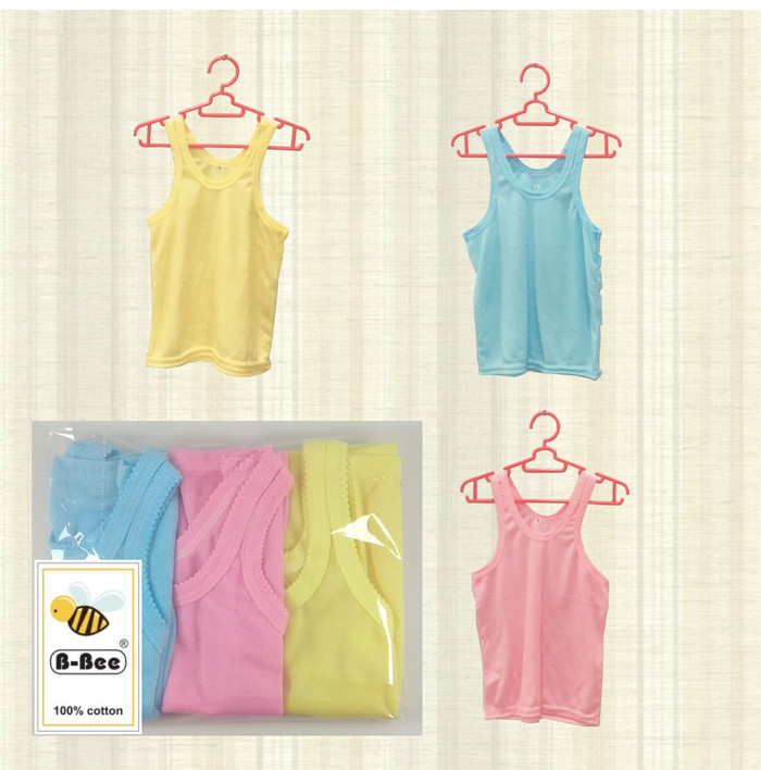 Baju Singlet Kaos Oblong Bayi New Born B-Bee Cotton Size S isi 6 pcs
