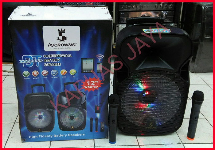 harga Speaker portable amplifier wireless avcrowns bluetooth (12 inch) Tokopedia.com
