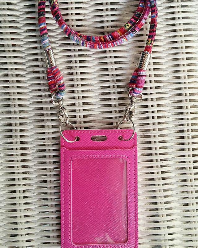 harga Id card holder pink dan tali tenun Tokopedia.com