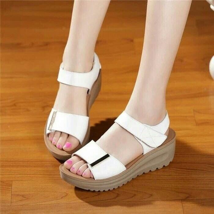 layla putih sepatu sendal sandal cantik wedges murah fashion wanita