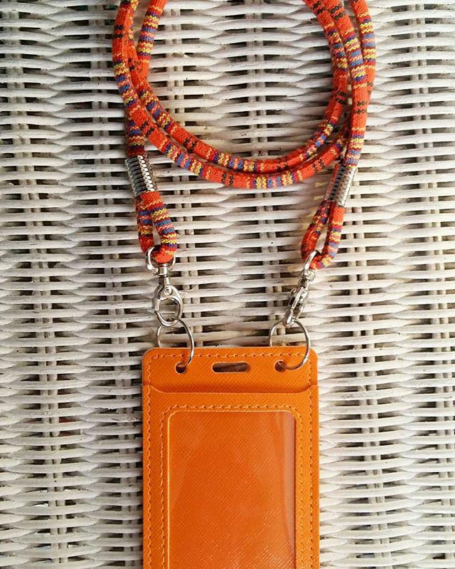 harga Id card holder orange dan tali tenun Tokopedia.com